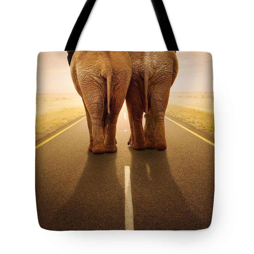Elephant Tote Bag featuring the photograph Going Away Together / Travelling By Road by Johan Swanepoel