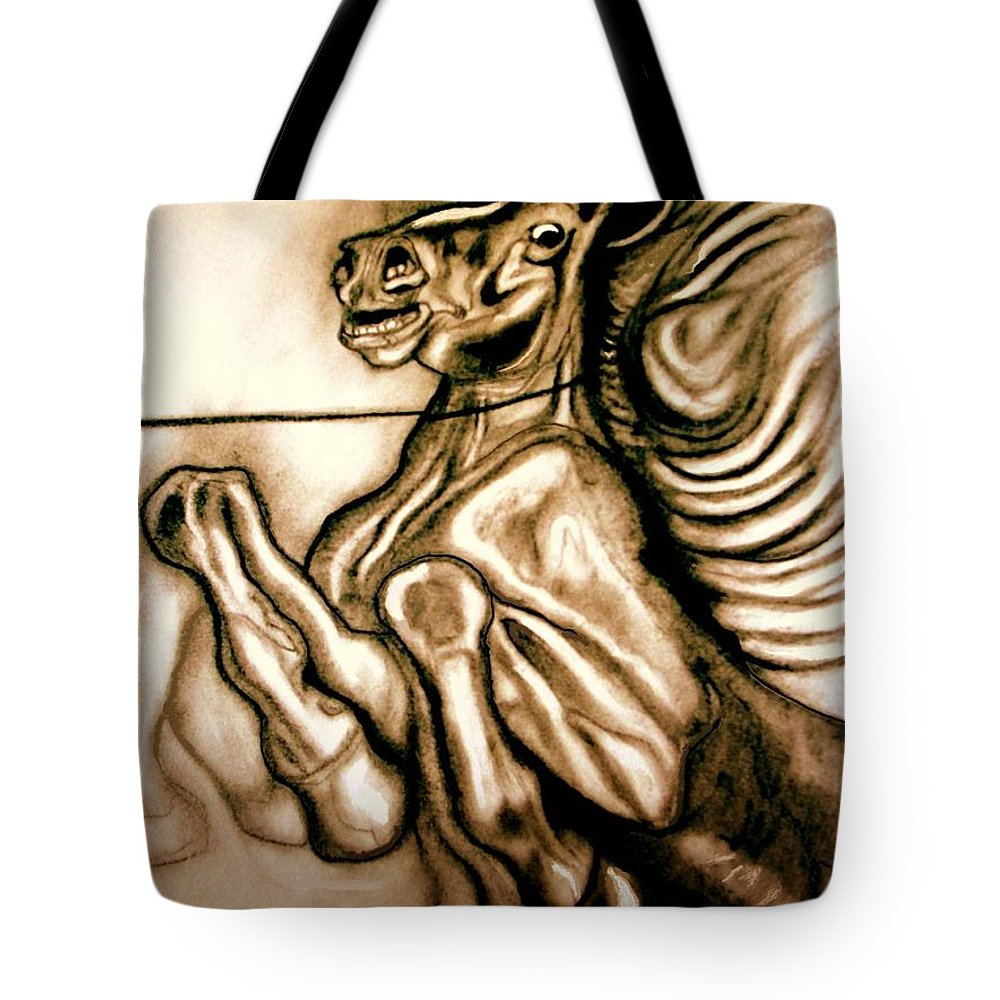 Horse Tote Bag featuring the painting Going Down Fighting by Herbert Renard