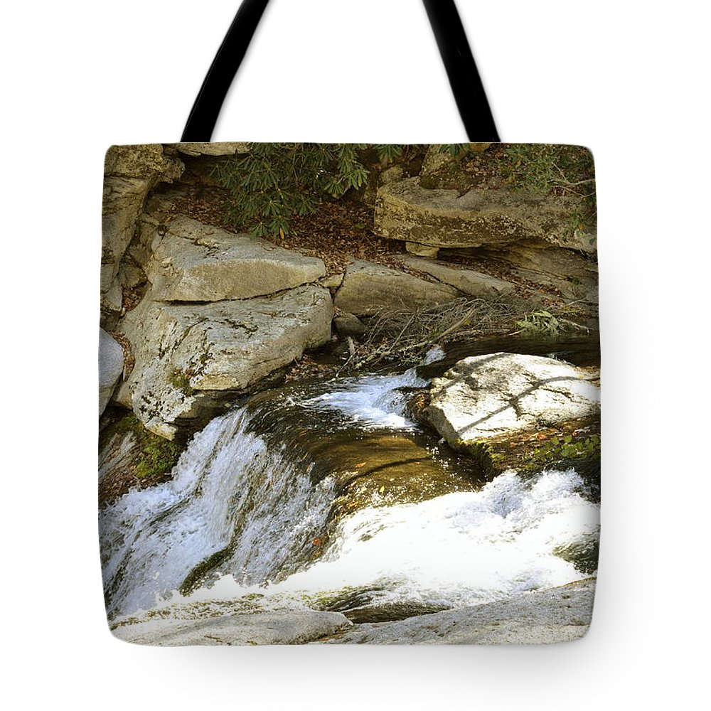 Waterfall Tote Bag featuring the photograph Going Down by Glenda Ward
