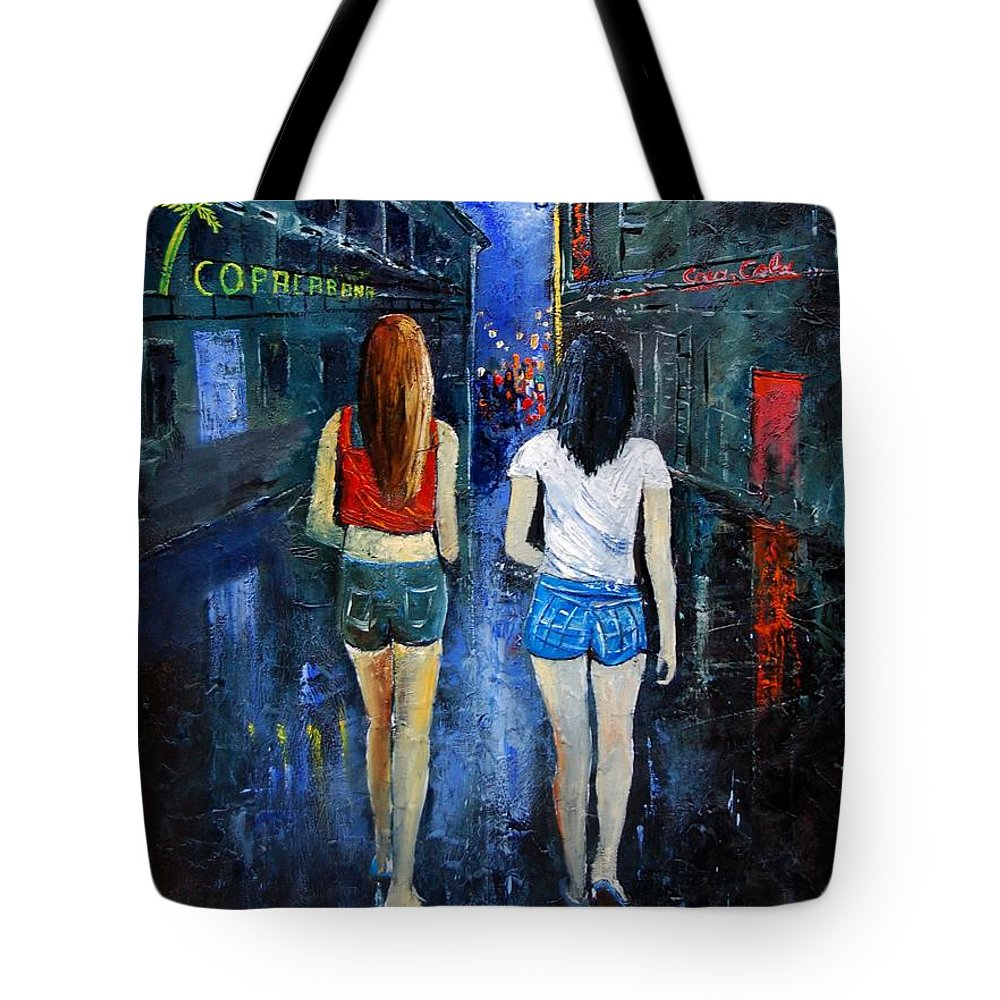 Girl Tote Bag featuring the painting Going Out Tonight by Pol Ledent
