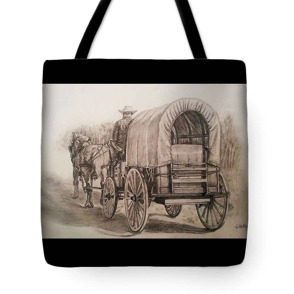 Horse Tote Bag featuring the drawing Going Shopping by Sheryl Gallant