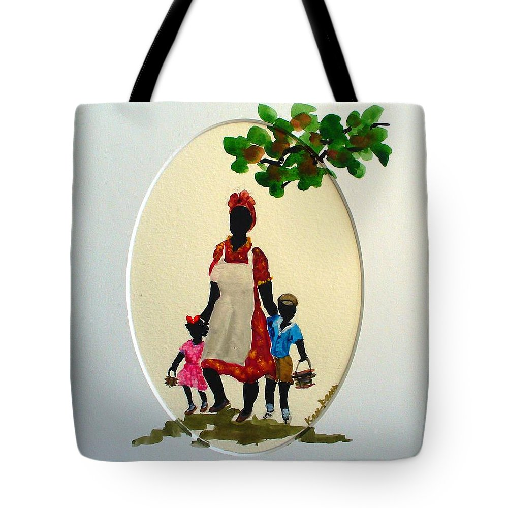 Caribbean Children Tote Bag featuring the painting Going to school by Karin Dawn Kelshall- Best