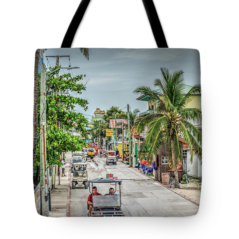 San Pedro Belize Tote Bag featuring the photograph Going To The Bridge At The Split by David Zanzinger