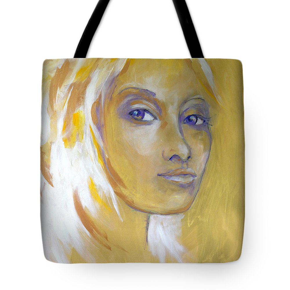 Portait Tote Bag featuring the painting Gold And Iridescents by Michael Clifford Shpack