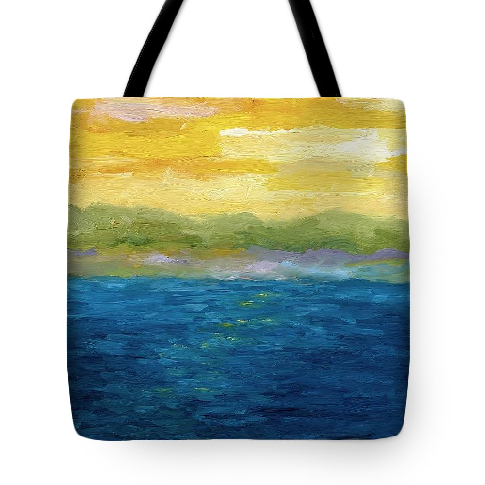 Lake Tote Bag featuring the painting Gold And Pink Sunset by Michelle Calkins