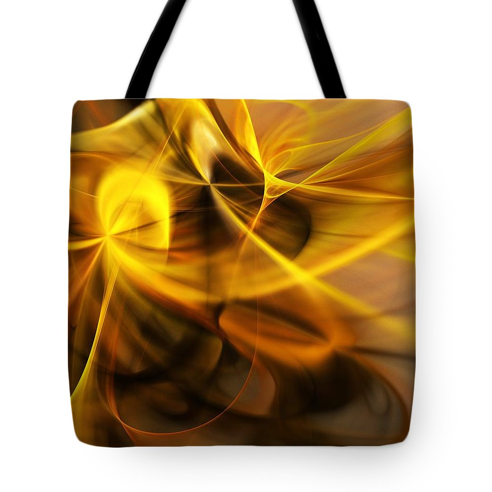 Fractal Tote Bag featuring the digital art Gold and Shadows by David Lane