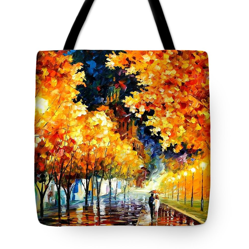 Afremov Tote Bag featuring the painting Gold Boulevard by Leonid Afremov