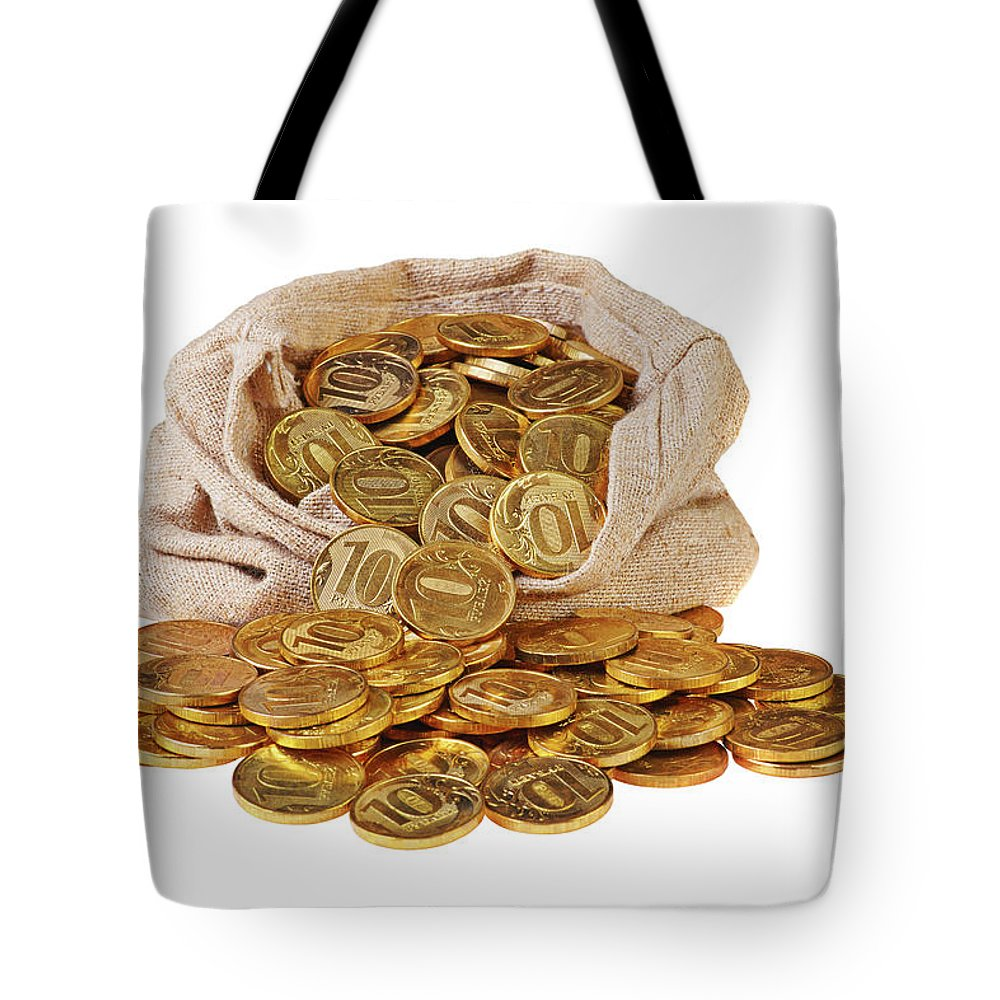 Gold Coins Fall Out Of A Canvas Bag Tote Bag