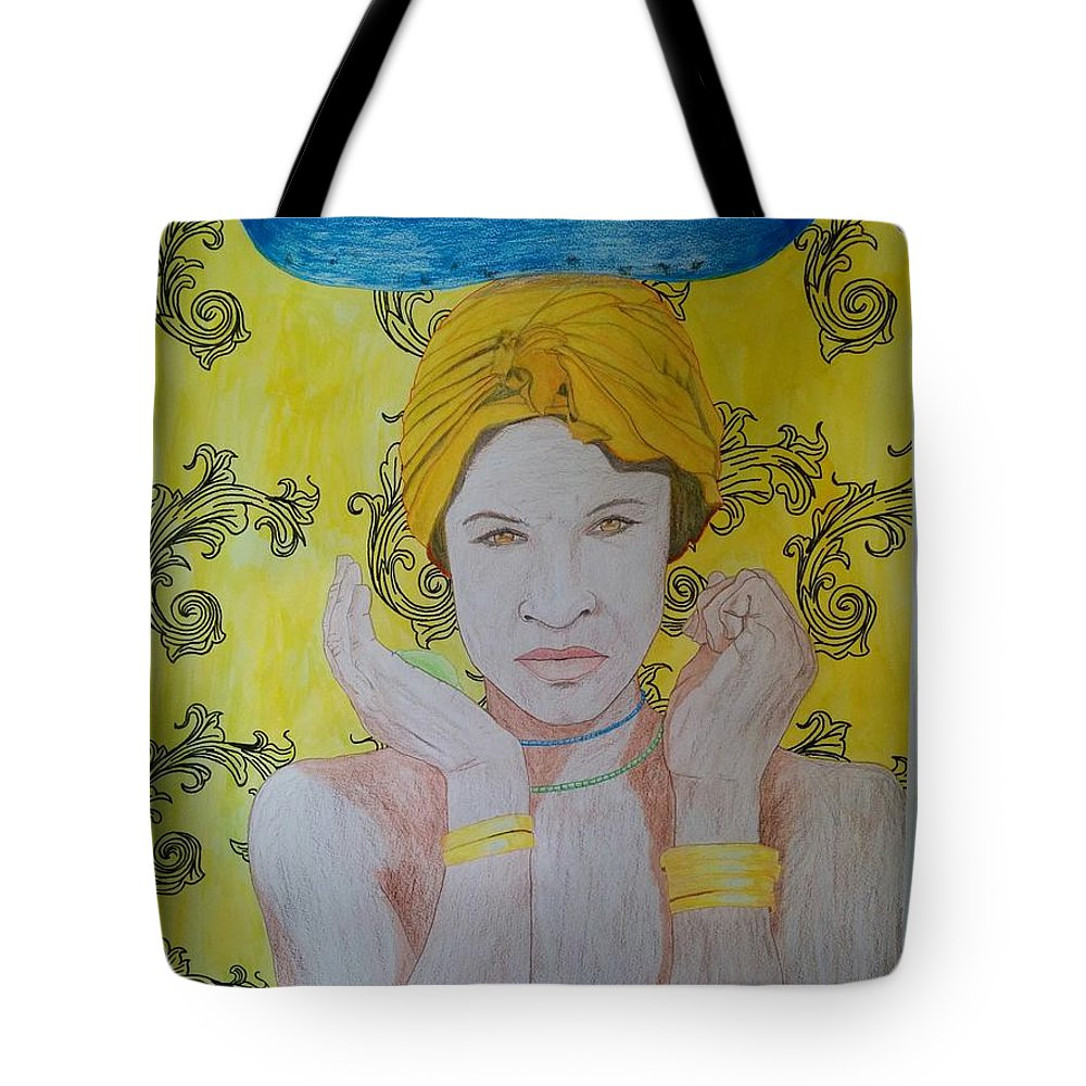Tote Bag featuring the mixed media Gold Eyes by Rafael Colon
