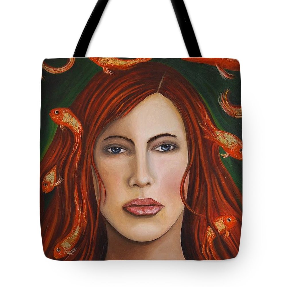 Gold Fish Tote Bag featuring the painting Gold Fish 9 by Leah Saulnier The Painting Maniac