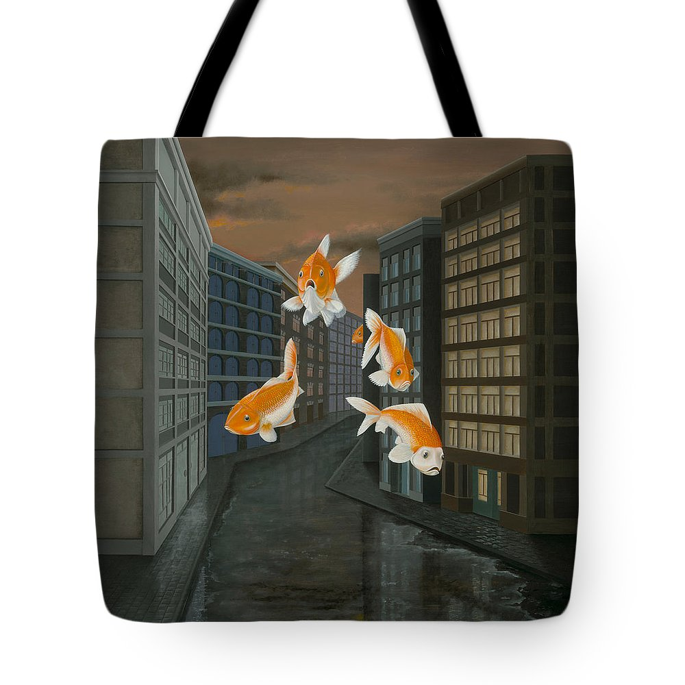 Fish Tote Bag featuring the painting Gold Fish by Patricia Van Lubeck