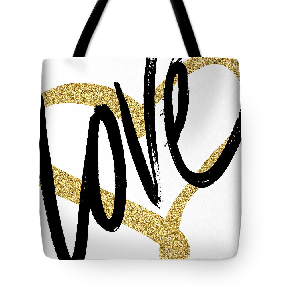Gold Tote Bag featuring the painting Gold Heart Black Script Love by South Social Studio