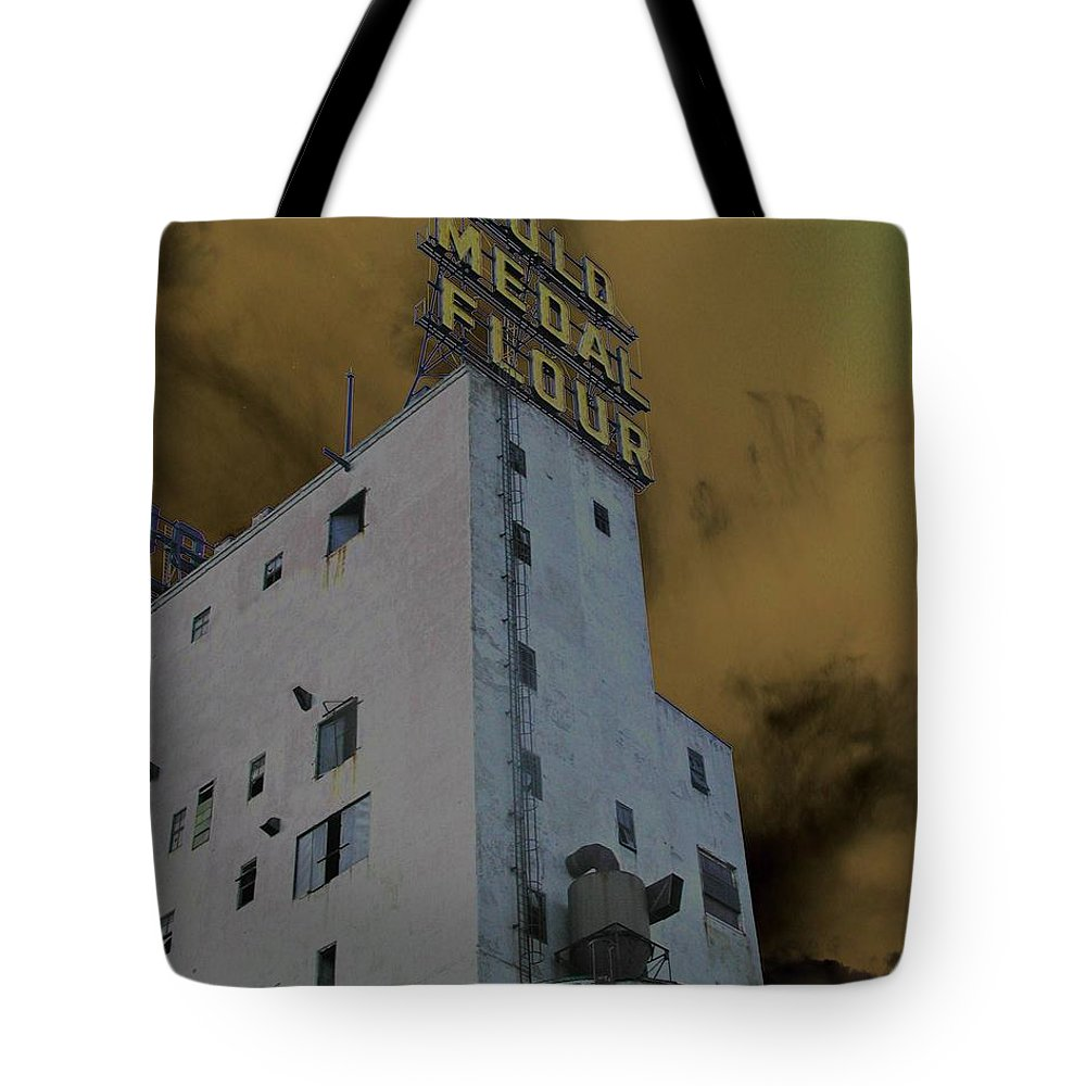 Minneapolis Tote Bag featuring the photograph Gold Medal Flour by Tom Reynen