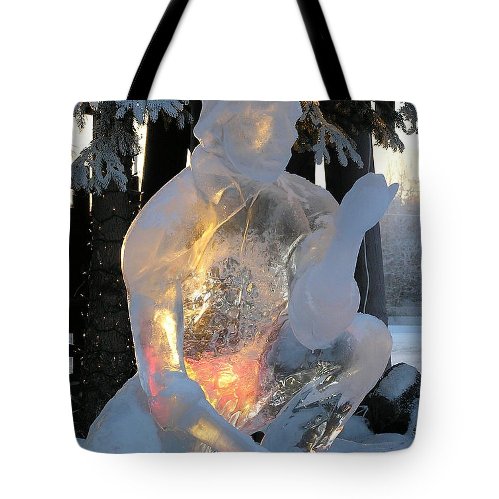 Ice Sculpture Tote Bag featuring the photograph Gold Miner by Louise Magno