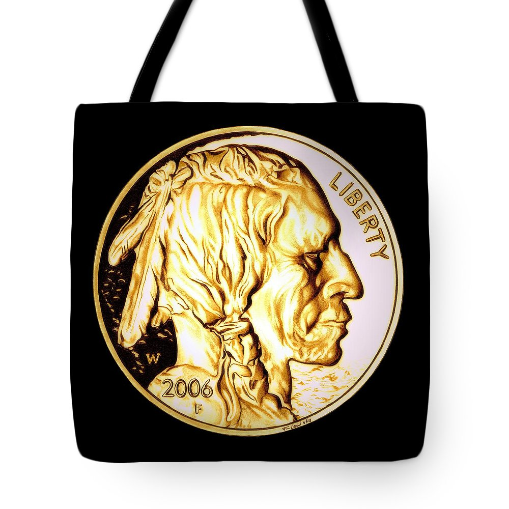 Coin Tote Bag featuring the drawing Gold Nugget Buffalo Nickel by Fred Larucci