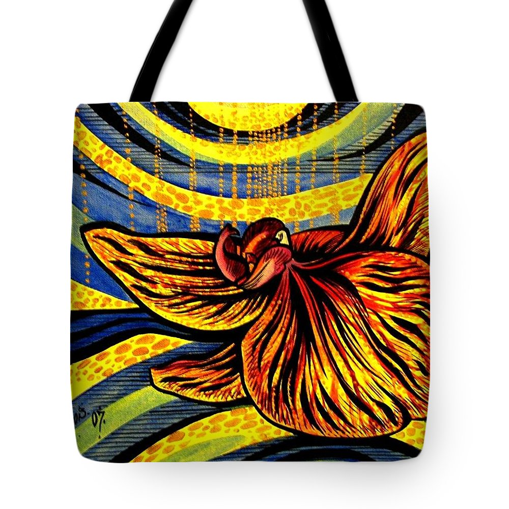 Inga Vereshchagina Tote Bag featuring the painting Gold Orchid by Inga Vereshchagina