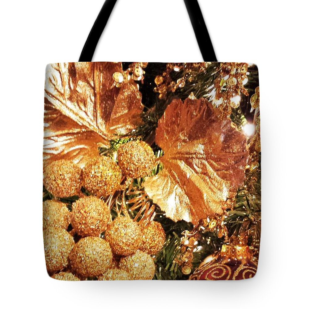 Greeting Tote Bag featuring the photograph Gold Ornaments Holiday Card by Sharon Eng