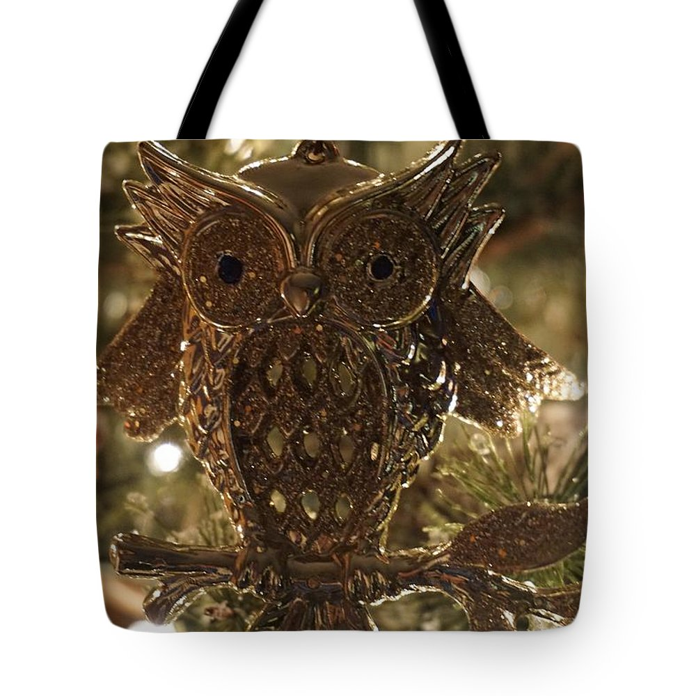 Winter Tote Bag featuring the photograph Gold Owl by Susan Brown