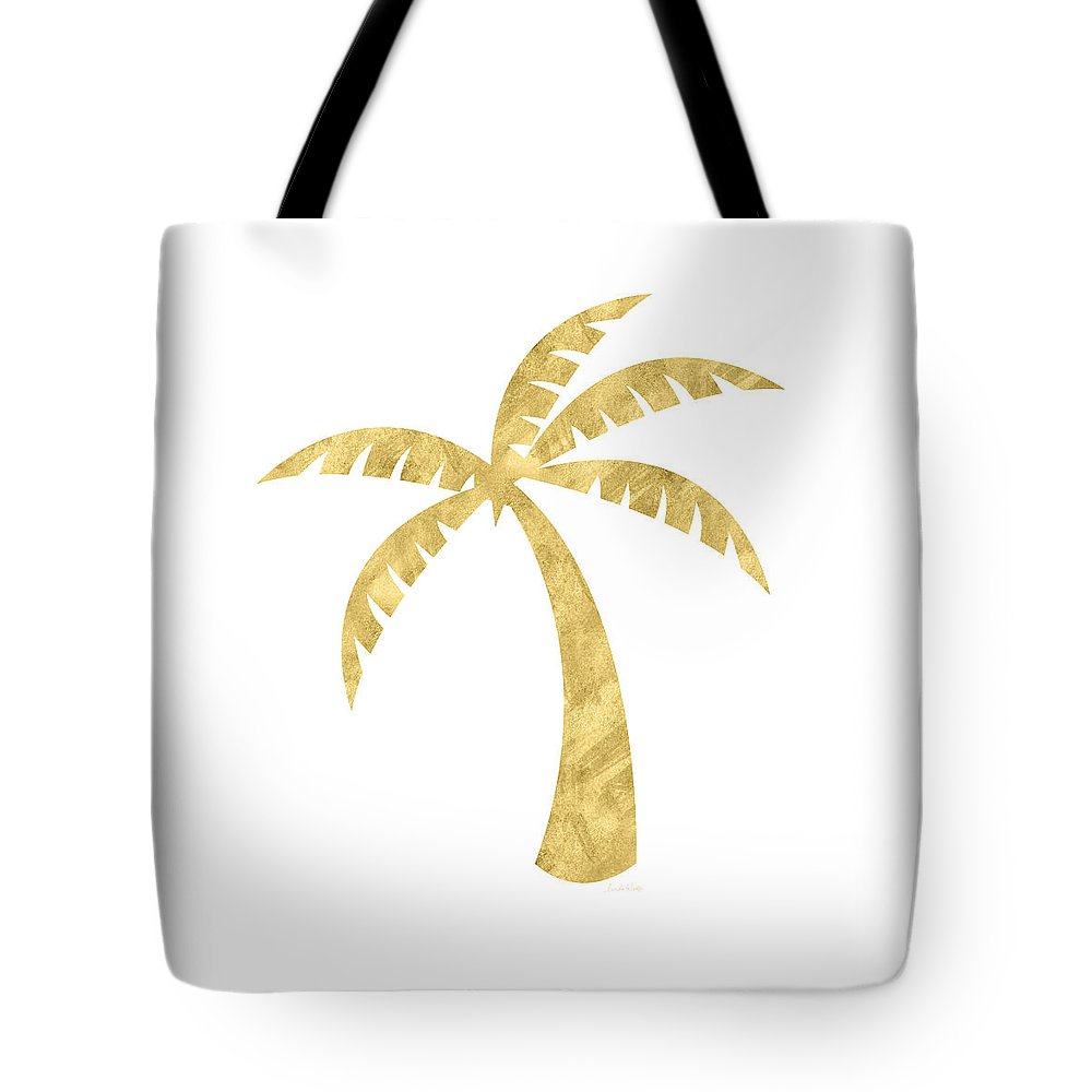 Palm Tree Tote Bag featuring the mixed media Gold Palm Tree- Art by Linda Woods by Linda Woods