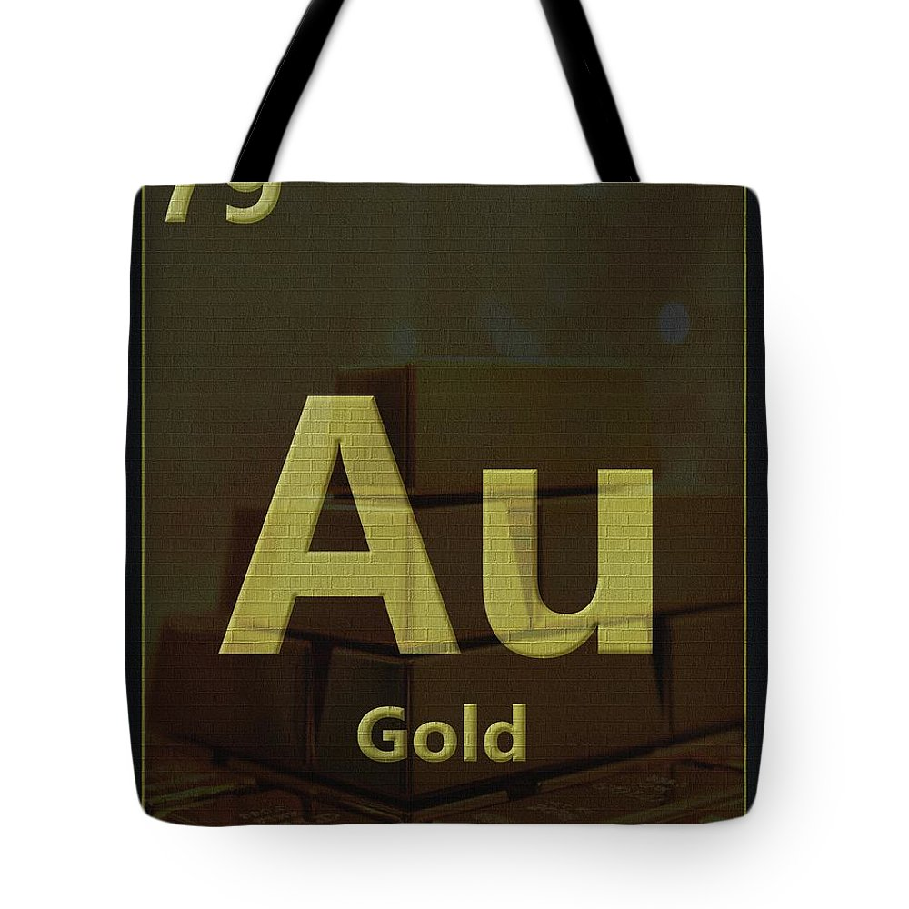 Gold Periodic Table Tote Bag featuring the digital art Gold Periodic Table by Dan Sproul