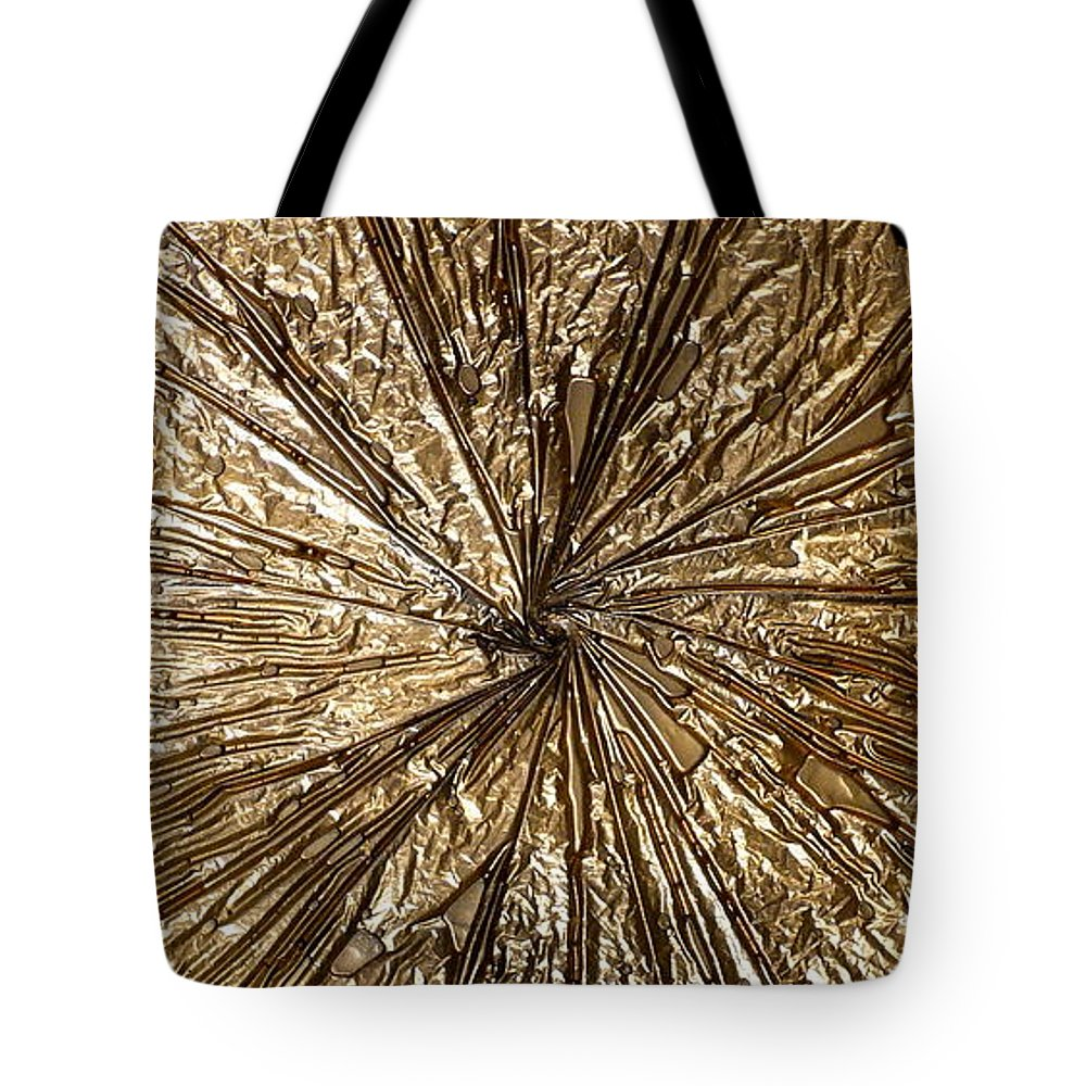 Abstract Tote Bag featuring the painting Gold Spin by Rick Silas