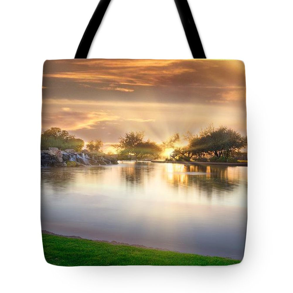 Gole Tote Bag featuring the photograph Gold Sunset At The Lake by Patrick Zerarka