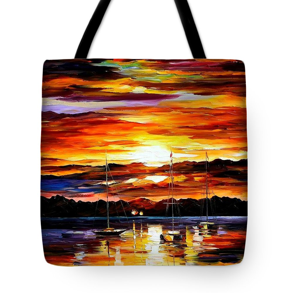 Afremov Tote Bag featuring the painting Gold Sunset by Leonid Afremov
