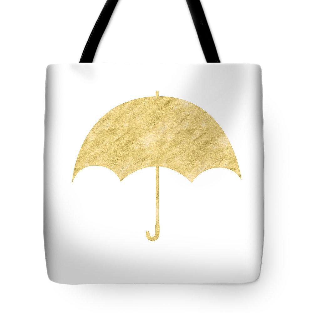 Umbrella Tote Bag featuring the mixed media Gold Umbrella- Art By Linda Woods by Linda Woods