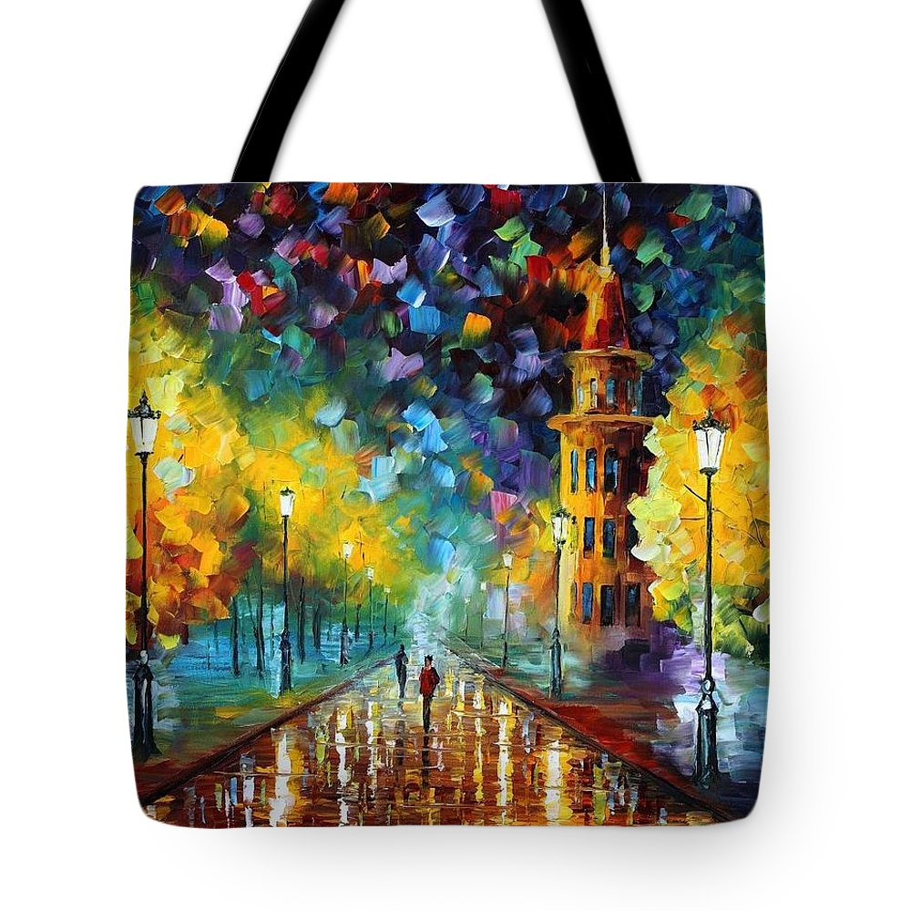 Afremov Tote Bag featuring the painting Gold Winter by Leonid Afremov