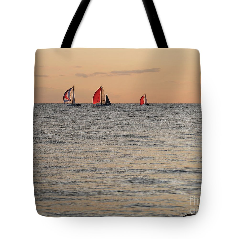 Sailboats Tote Bag featuring the photograph Golden Afterglow by Ann Horn