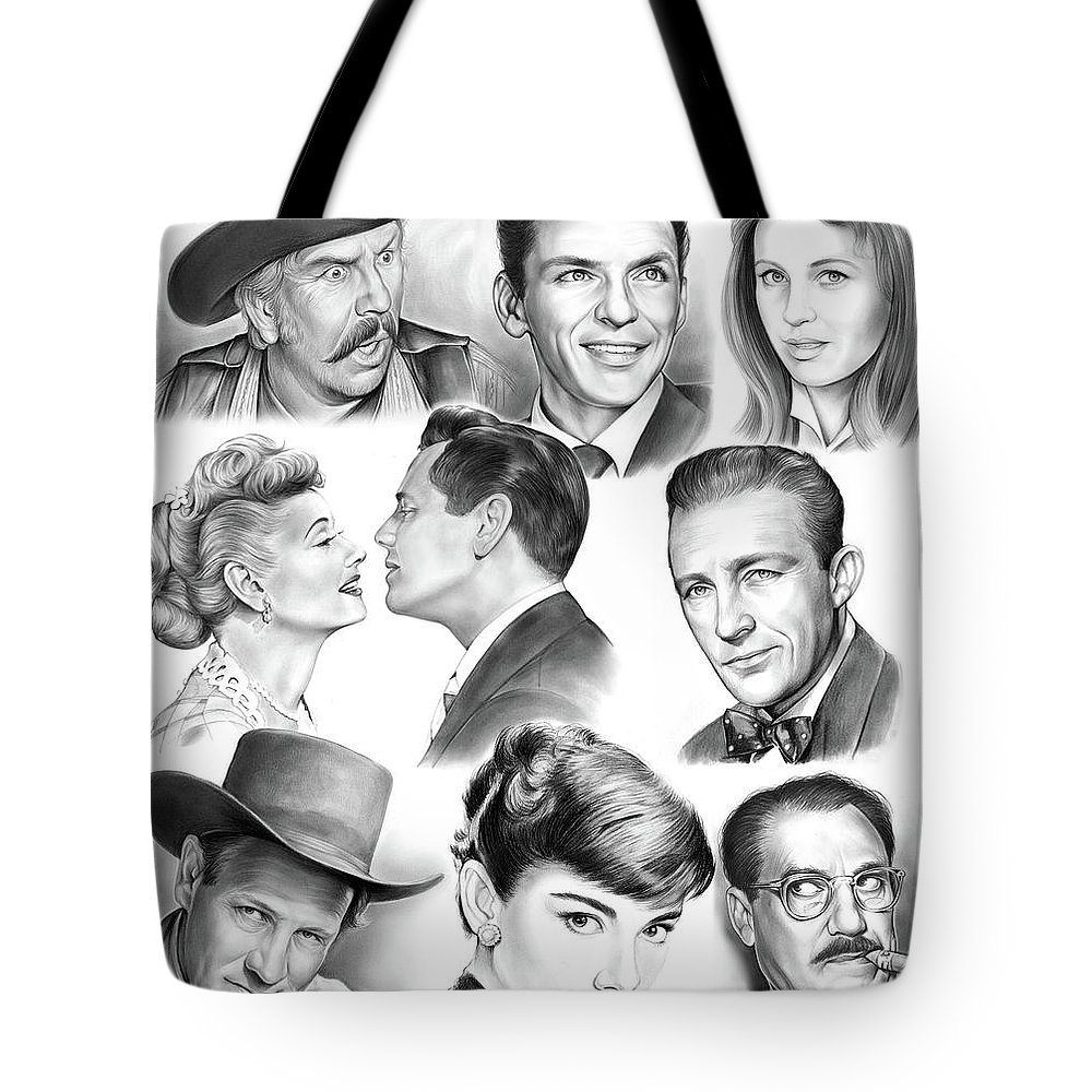 Golden Age Tote Bag featuring the drawing Golden Age Montage by Greg Joens