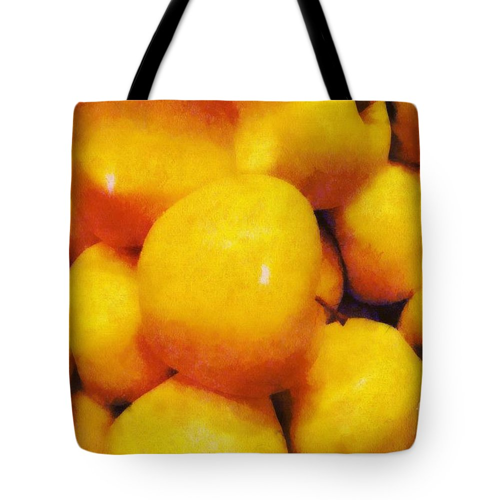 Apples Tote Bag featuring the painting Golden Apples Of The Sun by RC DeWinter