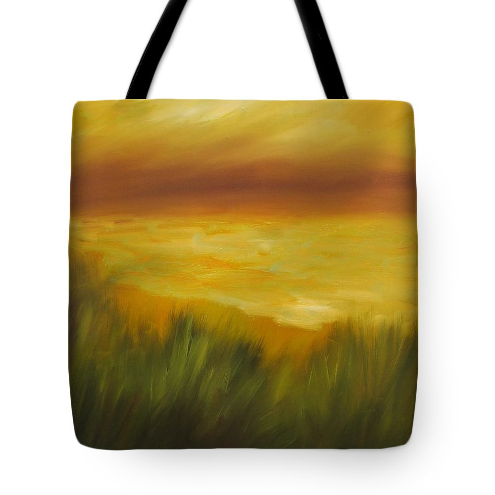 Gold Tote Bag featuring the painting Golden Beach by Shannon Grissom