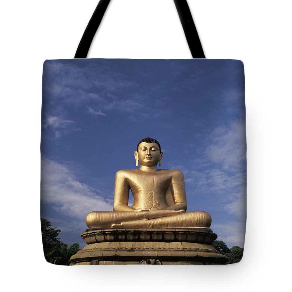 Asian Art Tote Bag featuring the photograph Golden Buddha by Larry Dale Gordon - Printscapes