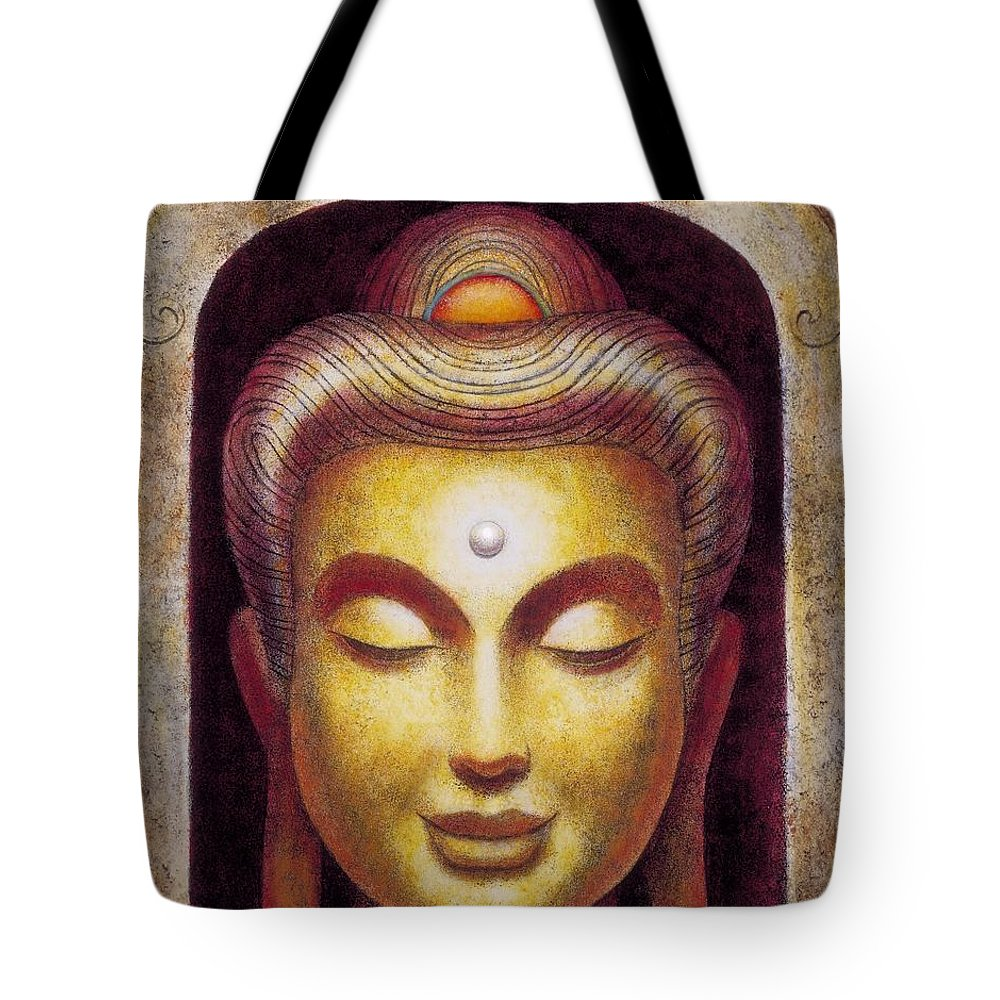 Buddha Tote Bag featuring the painting Golden Buddha by Sue Halstenberg