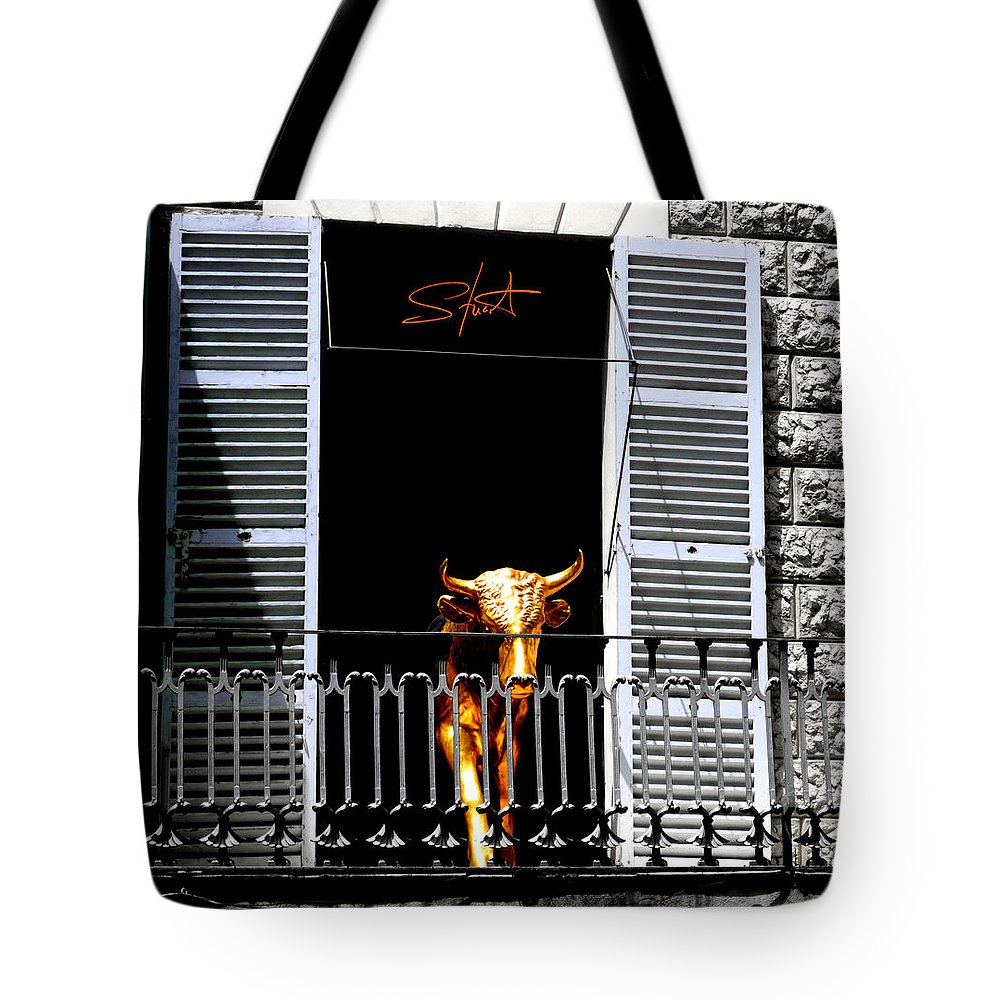 Bull Tote Bag featuring the photograph Golden Bull by Charles Stuart