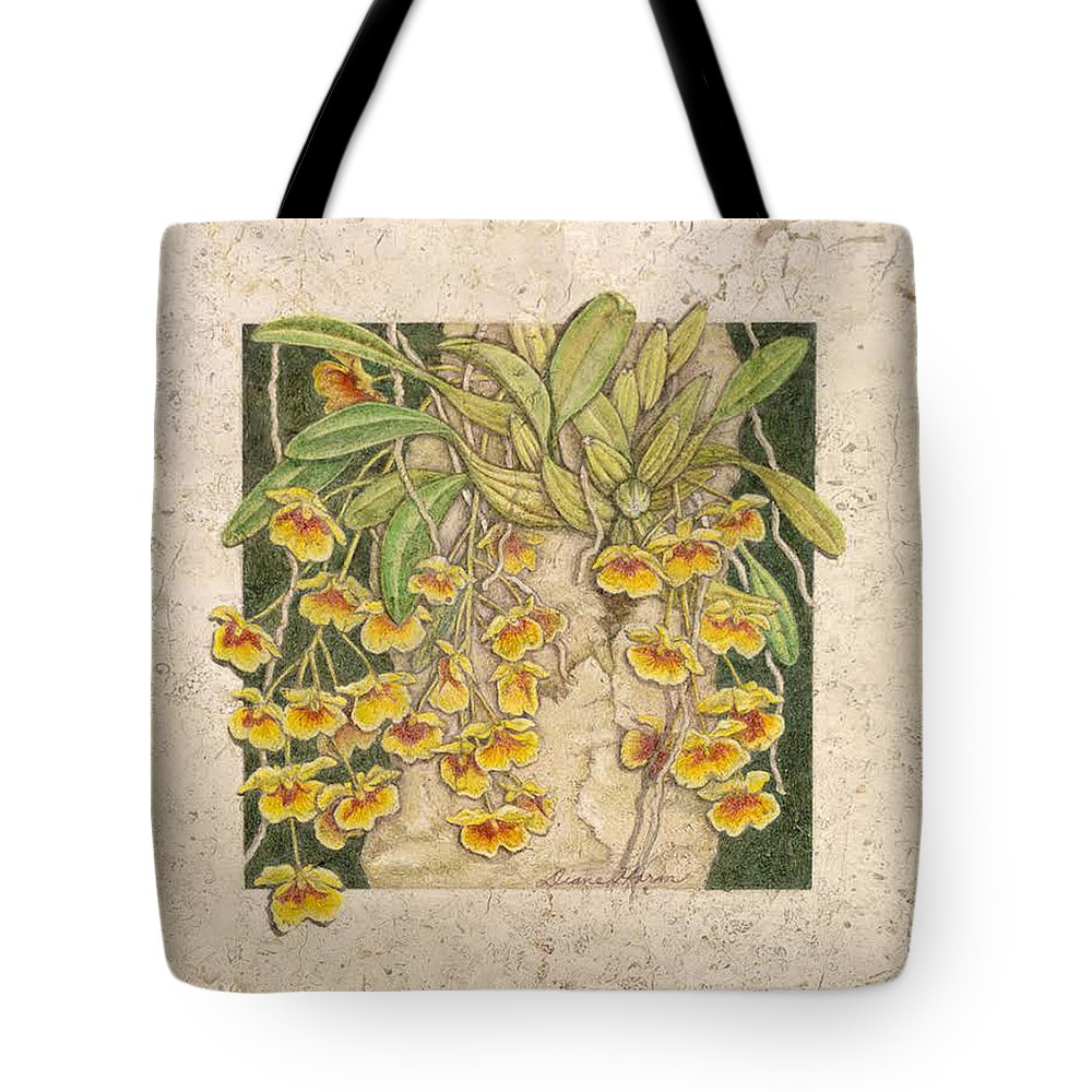 Dendrobium Orchid Tote Bag featuring the painting Golden Cascade by Diane Harm