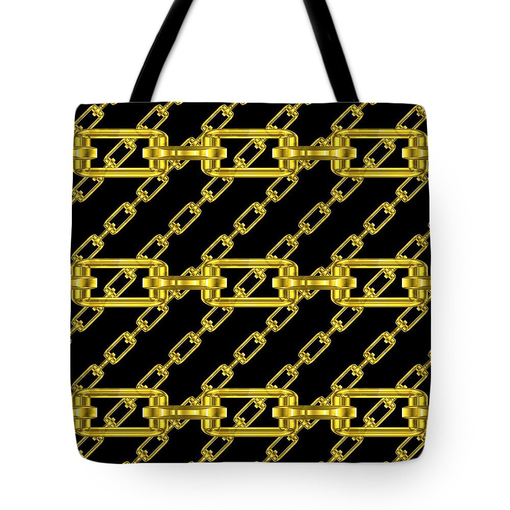 Seamless Tote Bag featuring the digital art Golden Chains With Black Background Seamless Texture by Miroslav Nemecek
