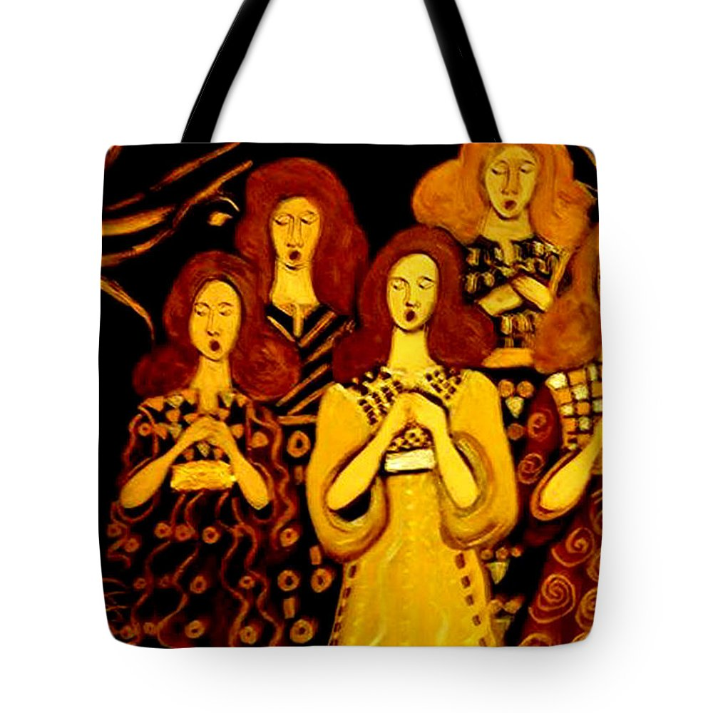 Choir Tote Bag featuring the painting Golden Chords by Rusty Gladdish