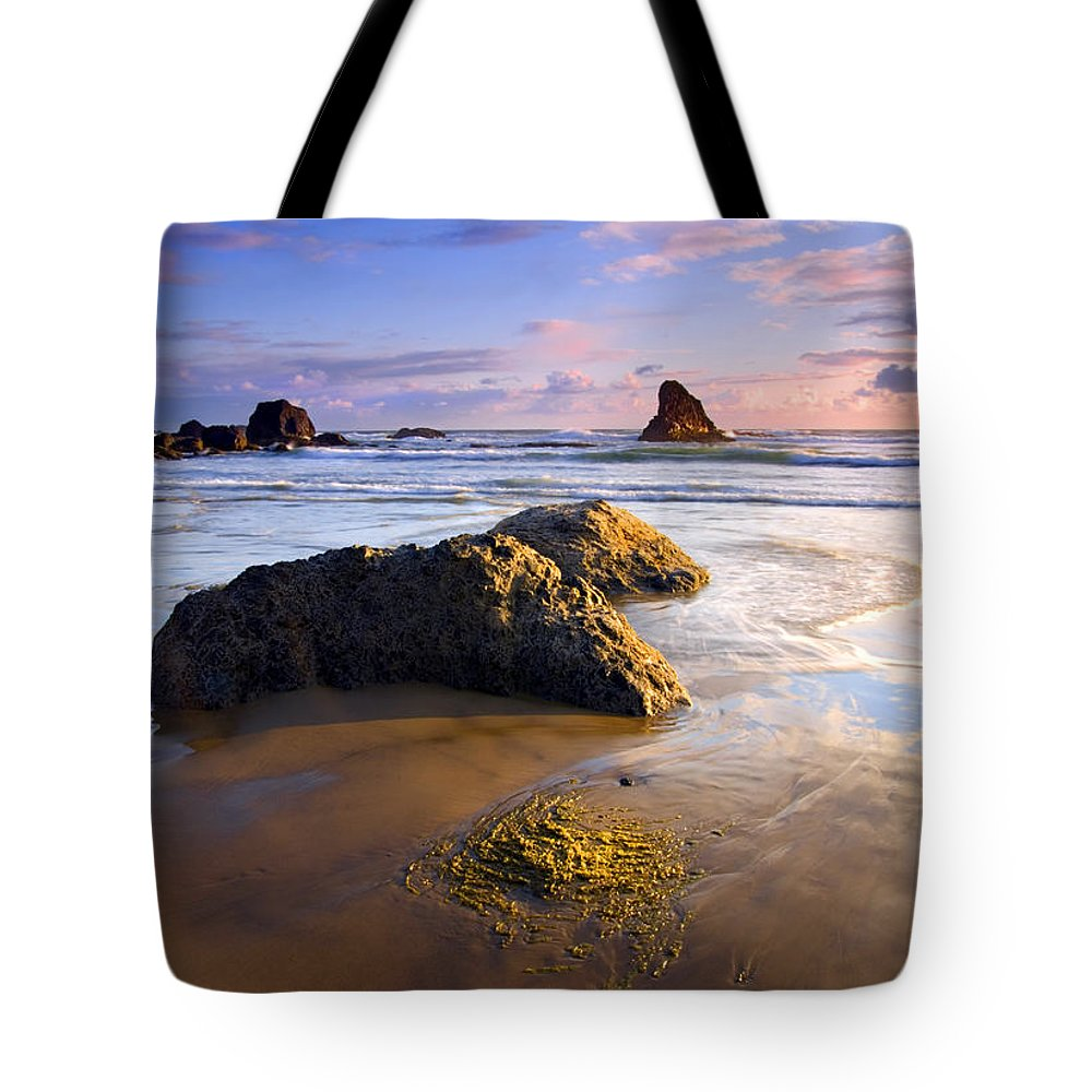Beach Tote Bag featuring the photograph Golden Coast by Mike Dawson
