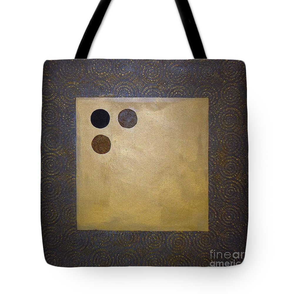 Sets Tote Bag featuring the mixed media Golden Coin by Marlene Burns