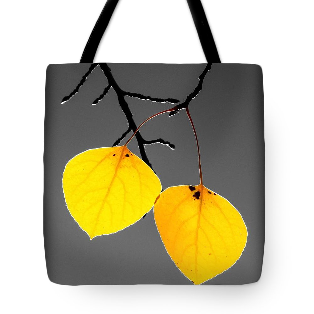 Quaking Tote Bag featuring the photograph Golden Duo by LeAnne Perry