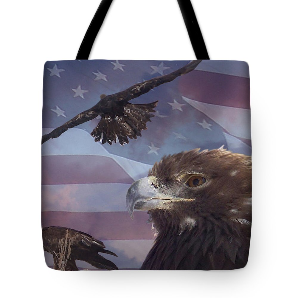 American Flag Tote Bag featuring the photograph Golden Eagle Collage by Ernie Echols