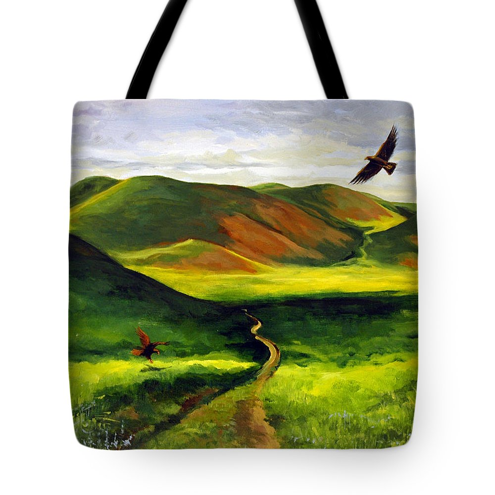 Acrylic Tote Bag featuring the painting Golden Eagles On Green Grassland by Suzanne McKee