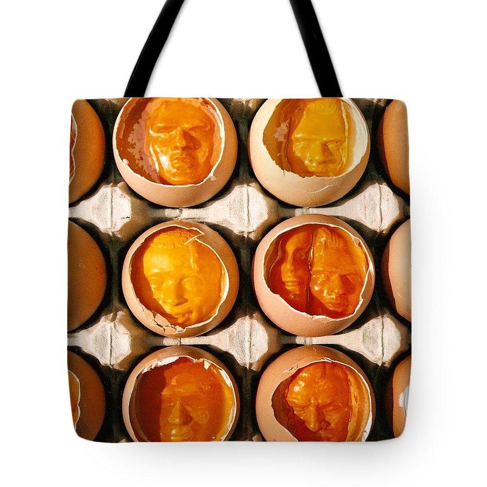 Eggs Tote Bag featuring the sculpture Golden Eggs by Mark Cawood