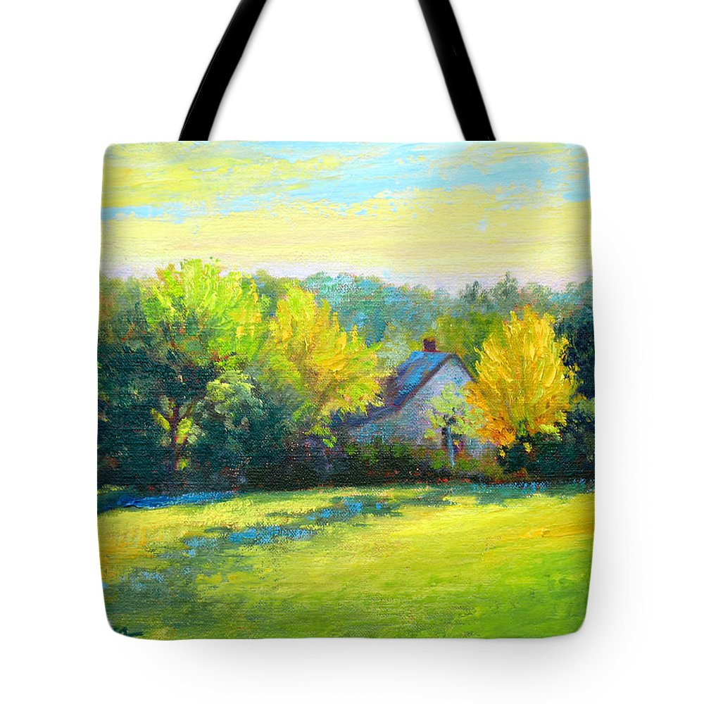Landscape Tote Bag featuring the painting Golden Evening by Keith Burgess