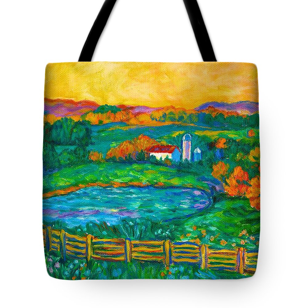 Landscape Tote Bag featuring the painting Golden Farm Scene Sketch by Kendall Kessler