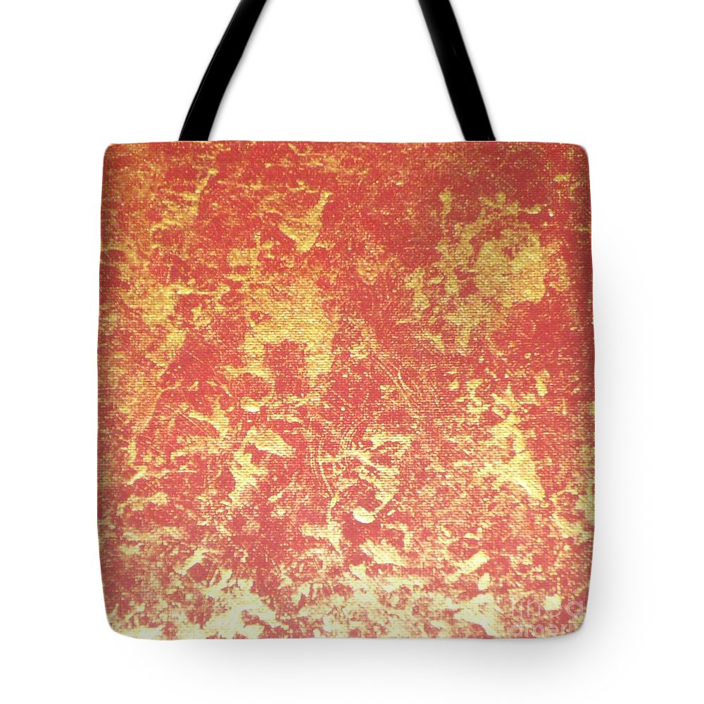 Red Tote Bag featuring the painting Golden Flames by Barb Montanye Meseroll