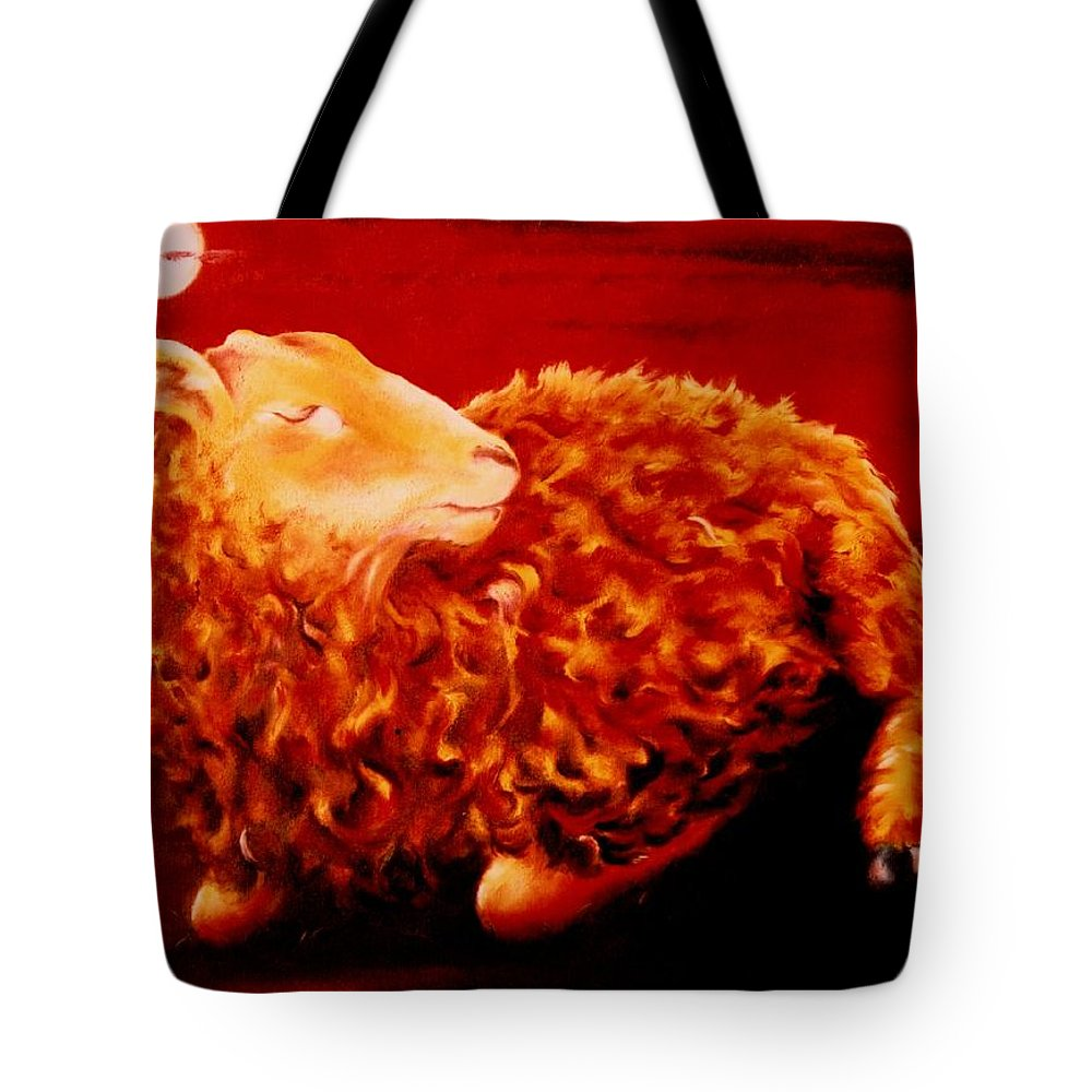 Sunset Tote Bag featuring the painting Golden Fleece by Mark Cawood