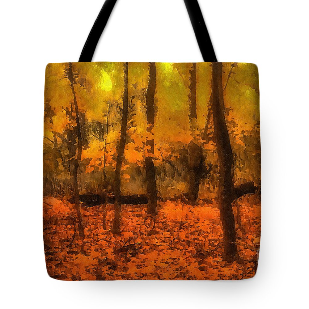 Forest Tote Bag featuring the digital art Golden Forest by Jeff Breiman